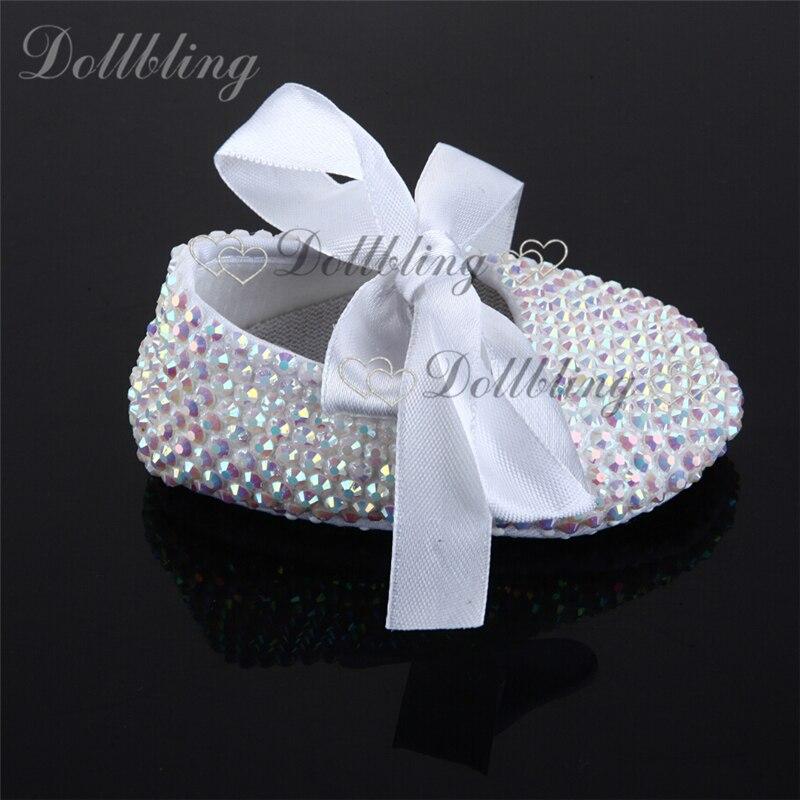 White AB Rhinestones Espadrilles Handmade Newborn Baby Ballerina Crystal Sapatoes Infant Bling Beading Ribbon Lace Moccasins