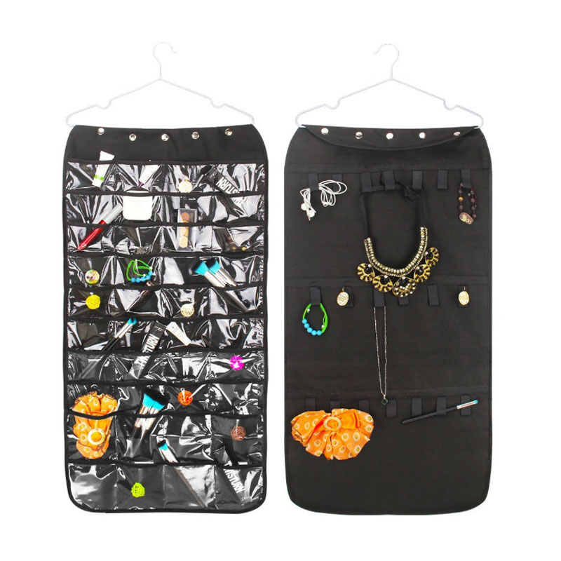 DINIWELL 80 Pocket Jewelry Hanging Bag Closet Accessory Organizer Folding Travel Storage Bag for Necklace Earrings Ring Bracelet