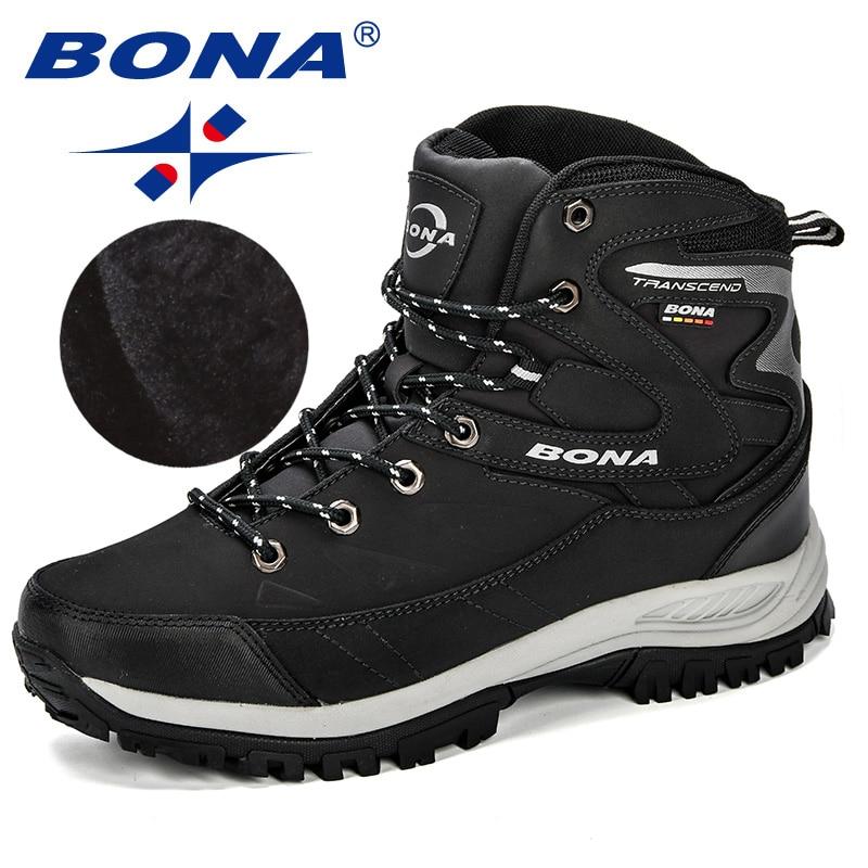 BONA/мужские ботинки, Зимняя мужская обувь, ботильоны, мужские зимние ботинки с круглым носком, плюшевые, сохраняющие тепло, мужская обувь на ш...