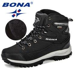 BONA hombres botas invierno Hombre Zapatos botas tobillo hombres botas de nieve punta redonda felpa mantener caliente hombre calzado encaje- zapatos de moda informales