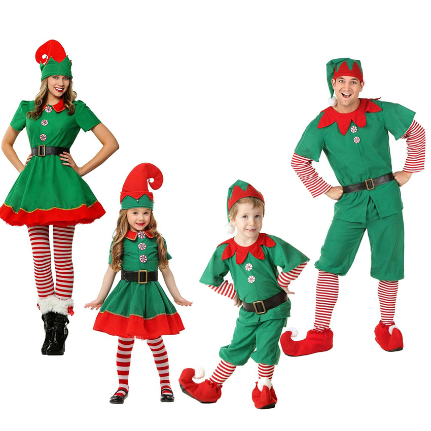 Christmas Elves Costumes Family Matching Clothes Mother and Me Dress Father and Son Long Sleeve Sets Halloween Christmas hat dear father christmas