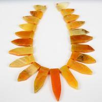 Approx 22pcs Strand,Natural Orange Achate Stick Points Beads Pendant Bulk,Smooth Drilled Raw Stones Slab Arrow Shape Necklace