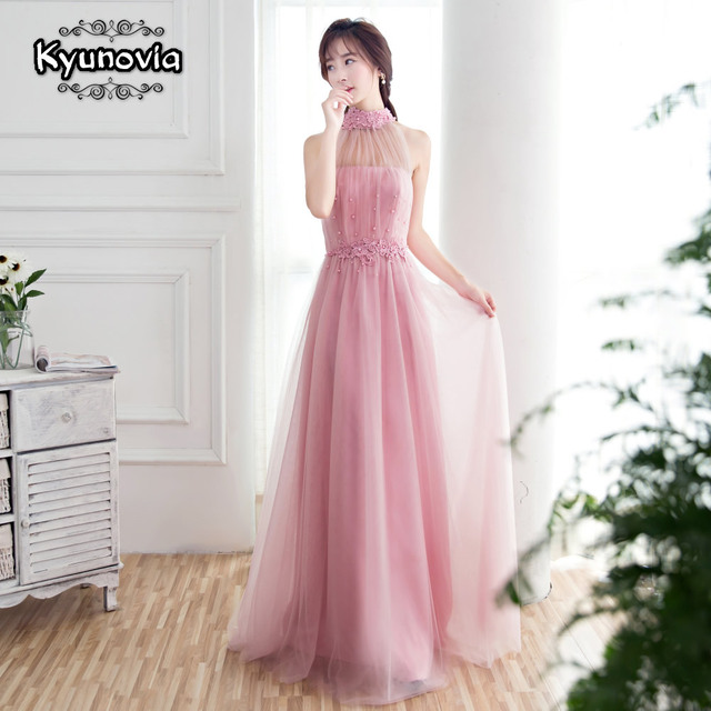 Floor Length Halter Dress Beaded Long Prom Dress Blue Champagne Sleeveless Evening Dress Appliques Lace Up Prom Dresses FD28 5
