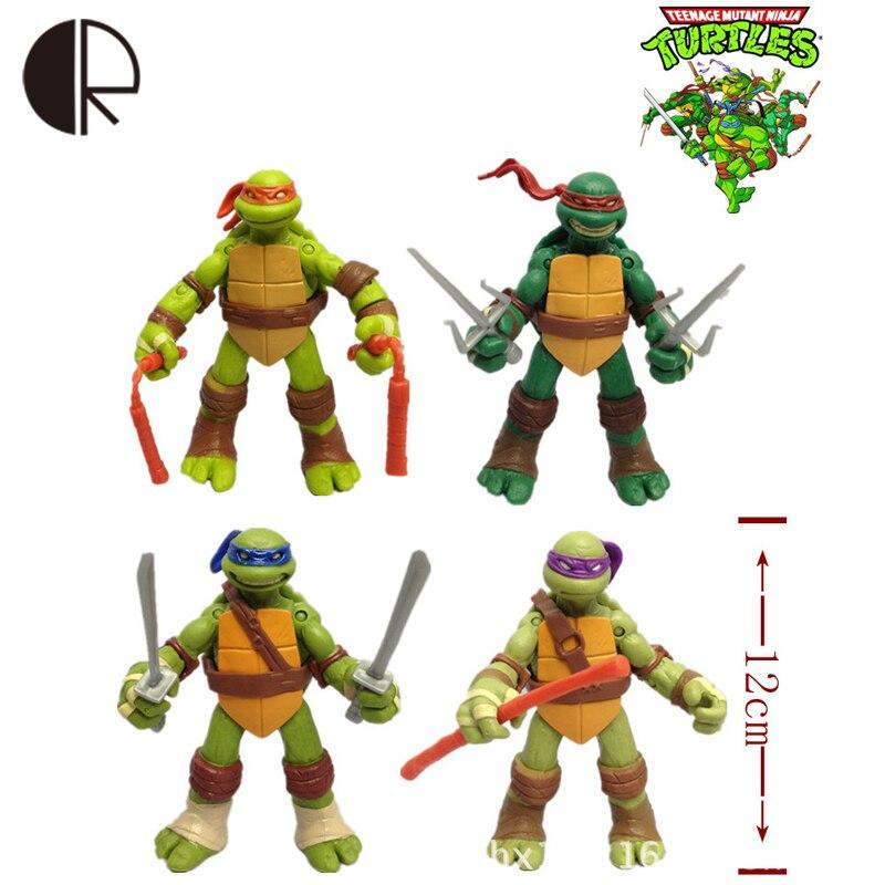 New arrival 4pcs/lot Teenage <font><b>Mutant</b></font> <font><b>Ninja</b></font> <font><b>Turtles</b></font> <font><b>Action</b></font> <font><b>Figures</b></font> Doll <font><b>Toy</b></font> 12CM Movable <font><b>Joints</b></font> TMNT <font><b>Model</b></font> Room Decoration HT2507