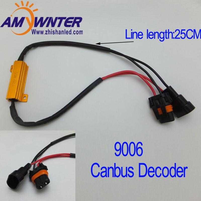 AMYWNTER 9006 50W Hot Selling Turn Singal Load Resistor for Fix Car Lights 6Ohm Car Fog Lights Bulb Fast Hyper Flash 2PCS