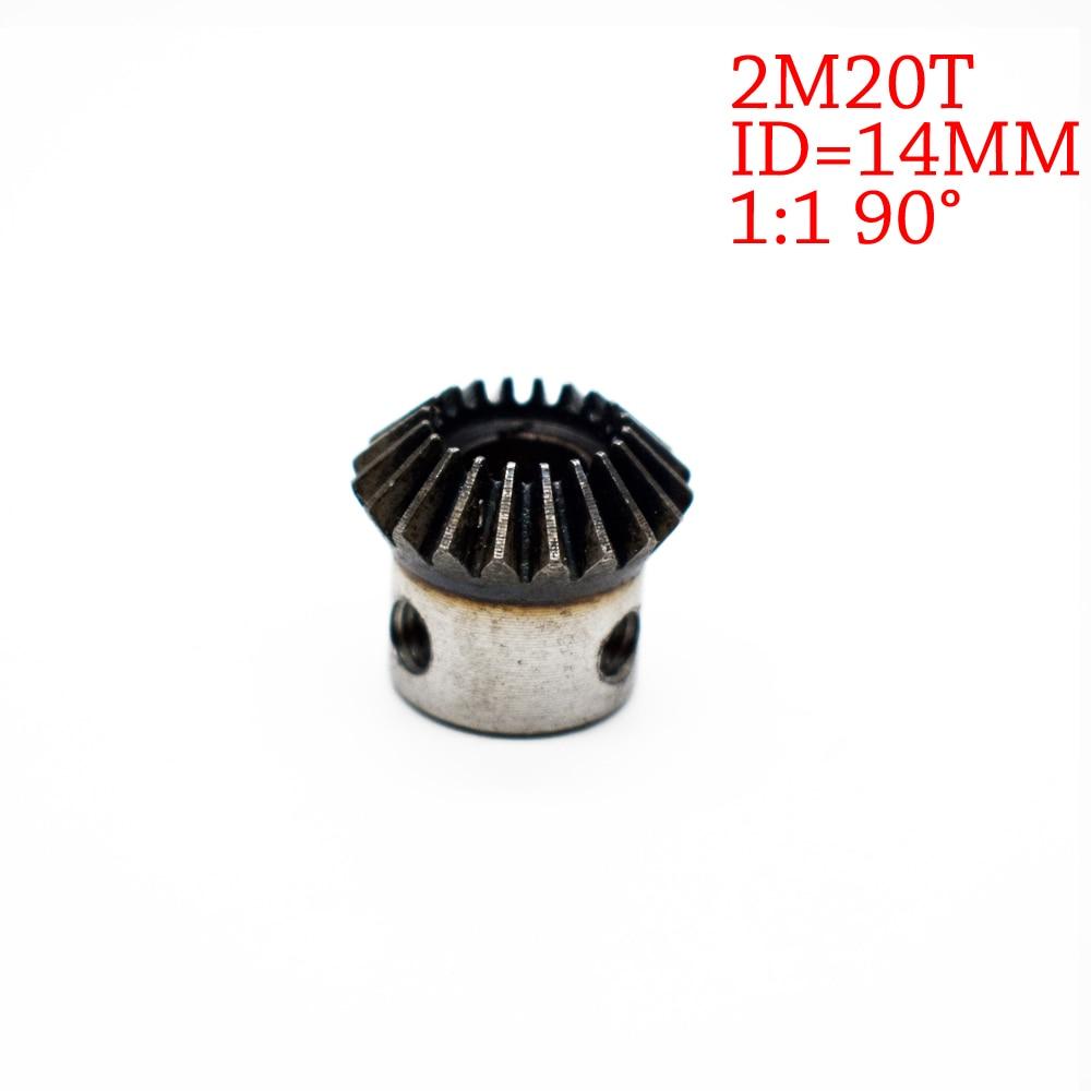 цена на 1Piece 14mm 1:1 Bevel Gear 2 Modulus 20 Teeth With Inner Hole 14mm 90 Degree Drive Commutation Steel Gears Screw Hole M5