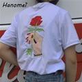 Bordado Rosa camiseta Parejas de Mujeres Ropa de la Camiseta 2017 Del Verano Femenino de Manga Corta t-shirt harajuk galaxia Tops camiseta femme C370