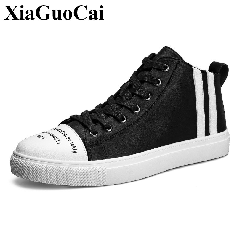 цены Fashion High-top Casual Shoes Men Lace-up Flats Leather Shoes Autumn Comfortable Round Toe Skate Shoes Black All-match H544 35