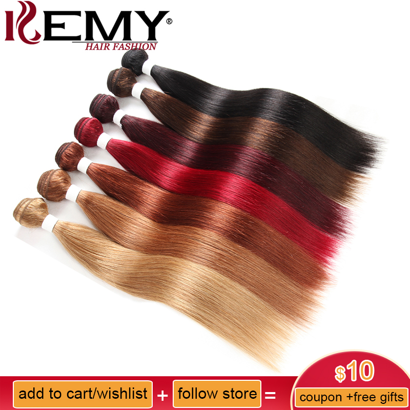 Black Brown Red Human Hair Weave Bundles Kemy Hair 8 26 Inch Brazilian Straight Non Remy Hair Extension Can Buy 2 Or 3 Bundles