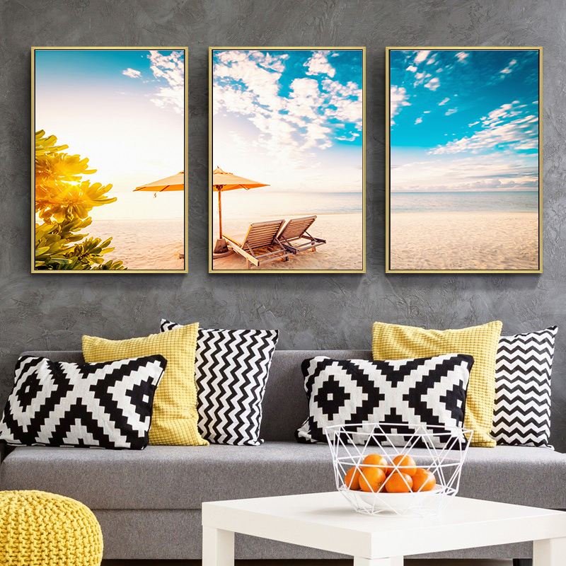 Nordic Poster Seescape three Items Wall Photos For Dwelling Room Blue Sky Solar Wall Artwork Canvas Portray Ornament Fashionable House Decor Portray & Calligraphy, Low cost Portray & Calligraphy,...