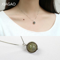 XIAGAO Vintage Sterling Silver Jewelry Pure 925 Sterling Silver Necklace Pendant For Women With Moon Stone