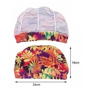 1 шт., свободный размер, шапочка для плавания, эластичная нейлоновая тюрбан с цветочным принтом, шляпы для купания в бассейне, длинные волосы, защита для плавания, шляпа для бассейна для мужчин и женщин