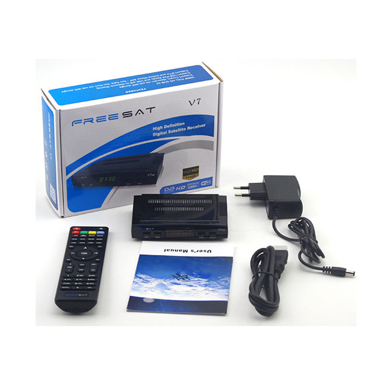 Satellite TV Receiver Decoder Freesat V7 HD DVB-S2 Support PowerVu Biss Key Cccam Newcam without USB Wifi цена