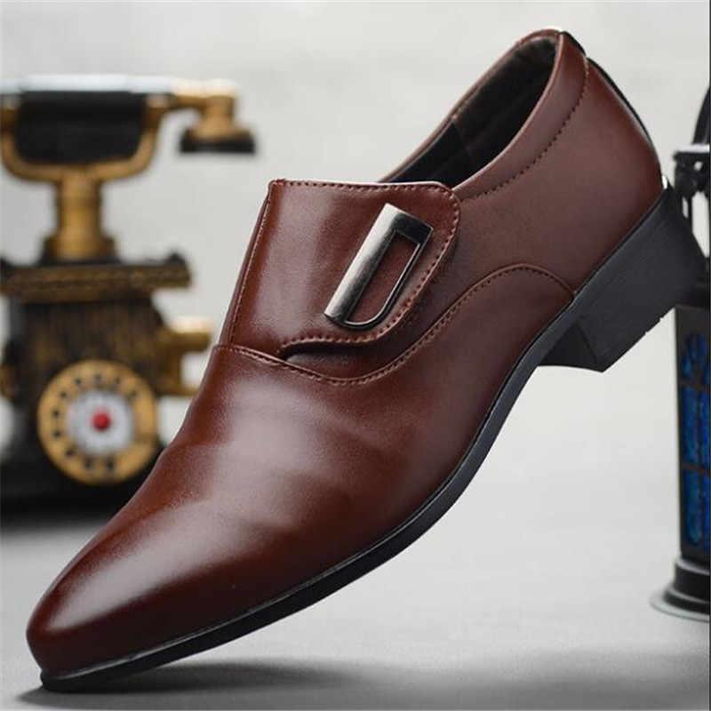 Mannen Lace-Up Oxfords Jurk Schoenen mannen PU Lederen Business Office Wedding Flats Man Casual Party Rijden schoenen grote maat 38-48