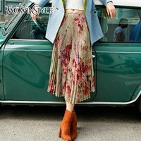 TWOTWINSTYLE Flower Print Skirts For Women Elastic High Waist Loose Hit Color Pleated Skirts Female 2018 Autumn Fashion New