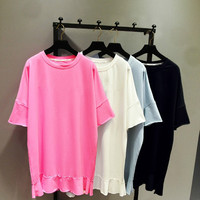 Loose Long Tshirt Women Oversize Embroidered T shirt Girls Lady Ruffles Edge Pullovers Pull Shirts Female Casual Tops