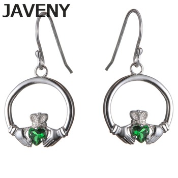 925 Sterling Silver Emerald CZ Cubic Zirconia Irish Claddagh Wedding Bridal Earring for Women Birthday Gifts 6pcs Lot Wholesale