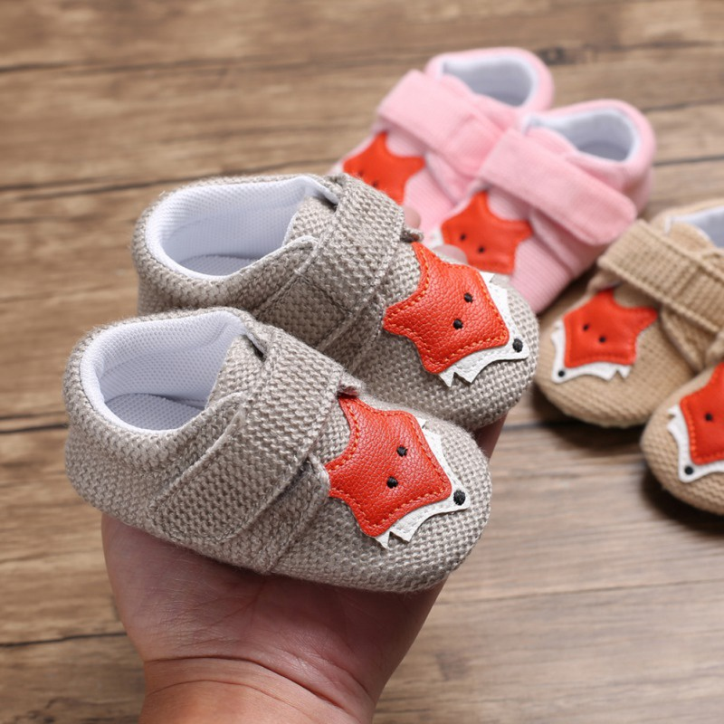 Toddler Newborn Baby Girl Boy Soft Sole Cute Fox Crib Shoes Slipper First Walker Anti-slip Sneaker Canvas Baby Shoes