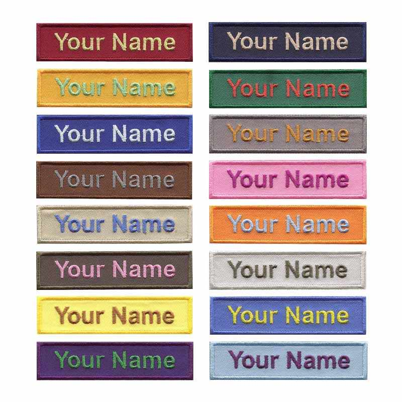 4 inches Wide YOUR Name embroidery patch on camouflage fabric shirt patch  iron on backing hot cut border (16 colors selection)