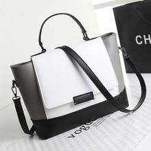 New Motorcycle Black White Women PU  Leather Shoulder Bag Handbags Ladies Messenger Bags Elegant Shoulder Bags Totes