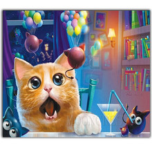 5D Diy Diamond Painting Cross Stitch Cat & Naughty Mouse Needlework 3D Embroidery Full Round Mosaic Decoration Resin Kit