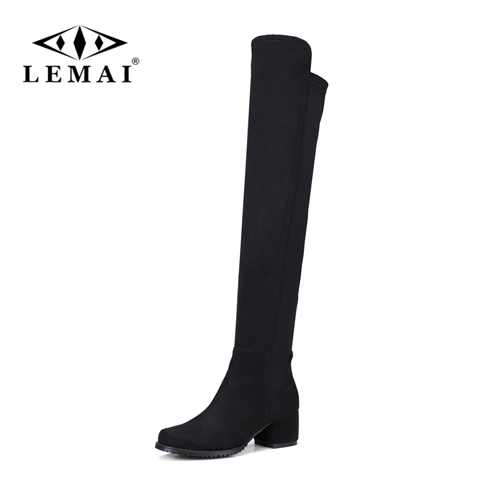 LEMAI Black Genuine thigh high Women shoes boots Women Pointed Toe flat Winter Autumn Boots Knee High Boots Size 33-43