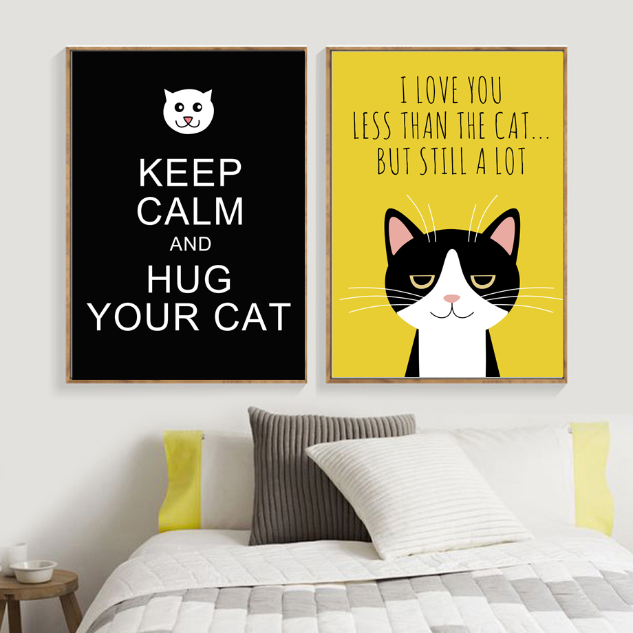 Cat Quotes Wall Art Print Canvas Painting Posters And
