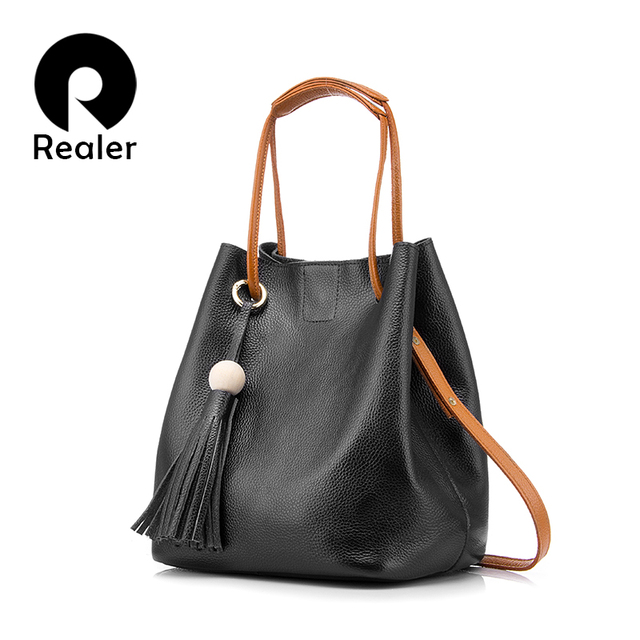 REALER new drawstring bucket bag women genuine leather handbag female solid shoulder bag with tassel brand tote bag Black