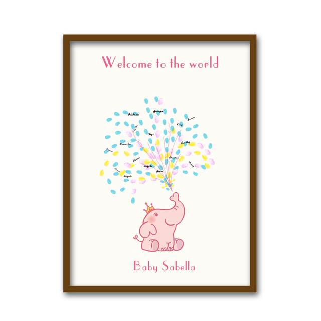 Free personalized custom name date canvas popular baby shower gift free personalized custom name date canvas popular baby shower gift guest fingerprint sign baptism gift decoration negle Gallery