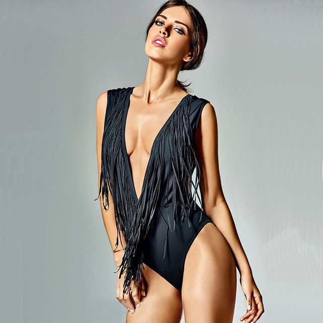 46ad4ccc2eb Sexy Black Deep V Neck One Piece Swimsuit Women Monokini Tassel Swimwear  Women Bikinis Bodysuit High Cut Bathing Suits Swim Suit