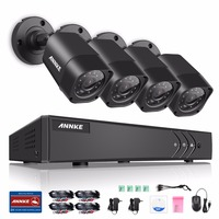 ANNKE 8CH 720P CCTV System Home Video Surveillance Kit 1080P HDMI DVR 4PCS 1280TVL 720P IR
