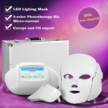 DHL Free Shipping 3 colors PDT photon led LED facial neck mask Smart system Led light therapy mask for Anti-Aging Beauty Mask