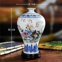 Package mail Jingdezhen ceramics Mei bottles of blue and white color bucket flower vase Household craft vase