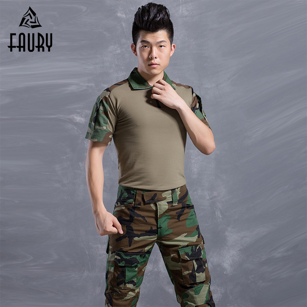 Military Uniform Camouflage Suit Clothing Men Army Uniforme Militar US Tactical Combat T-shirt + Pants Army Suit