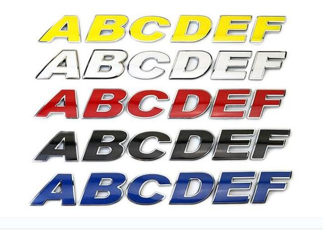 26 letters 30mm red yellow blue white metal letters numbers car