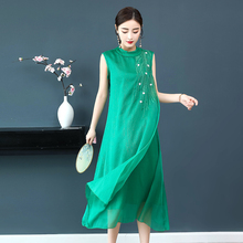 цена Summer green Silk Chiffon Dress for Women Plus Size High Quality Robe Midi Dresses floral Elegant Vintage Sleeveless Clothing