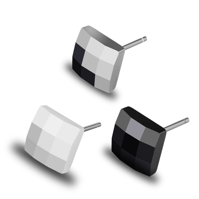 New Fashion 2 pcs Square Shape Stud Earrings Prism Design Allergy Free Silver/Black/White Three Colors Free Shipping