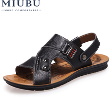 MIUBU MenS Summer Sandals Hot Sale Brand Leather Casual Slip-On Flats Fashion Two-Wear Men Footwears
