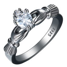 3 Color Classical Heart Rings  White Green Red Zirconia Fashion Black Gold Jewelry Vintage Wedding For Women