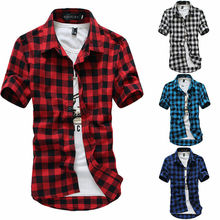 New Men's Shirts Short Sleeve Plaid Button-Down Summer Casual Tops Tee Mens Rugb
