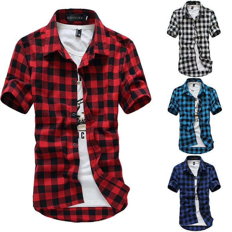 New Men's Shirts Short Sleeve Plaid Button-Down Summer Casual Tops Tee Mens Rugby Classic Shirts Clothing Hot M-3XL