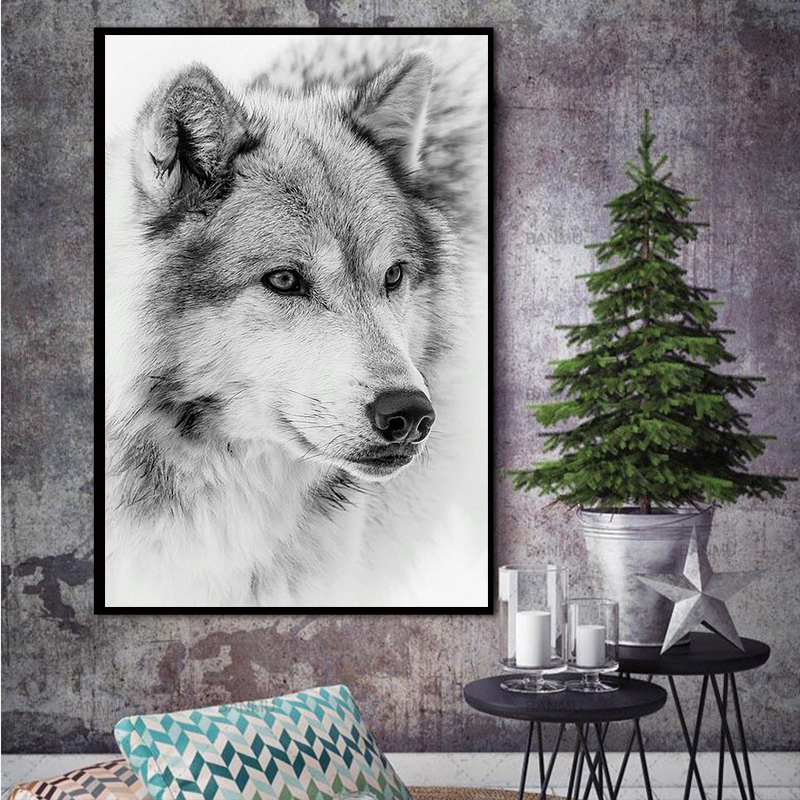 MUTU Watercolor Wolf Wall Art Canvas Painting Nordic Posters And Prints Wall Pictures For Living Room Home Decor Freeshipping