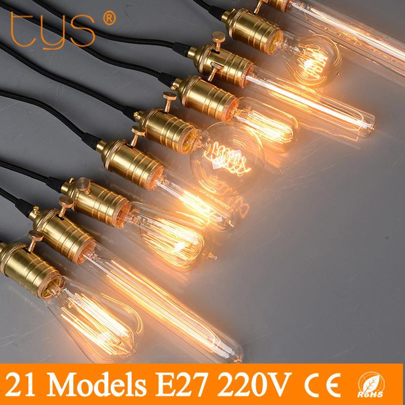 T.Y.S Edison Bulb e27 Retro Lamp ST64 G80 G95 Vintage Incandescent Bulb 220V Holiday Lights 40w Filament Lamp Lampada HomeDecor vintage edison bulb g80 g95 st64 e27 220v 40w retro lamp vintage light bulb edison lamp incandescent light decor filament