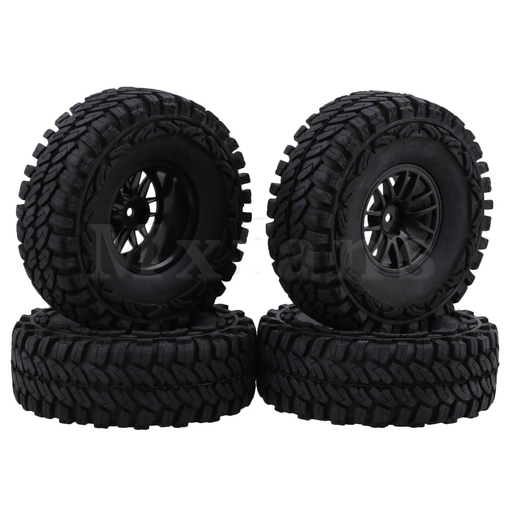 Mxfans Black Rubber Climb Tire with 1.9 14 Spoke Plastic Wheel Rim for RC 1:10 Rock Crawler Car Pack of 4