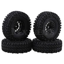 Mxfans Black Rubber Climb Tire with 1 9 14 Spoke Plastic Wheel Rim for RC 1