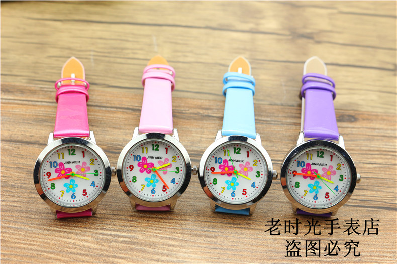 little girls beauty Flowers dial quartz watch high quality kids casual leather dress watch child dress gift El reloj clock