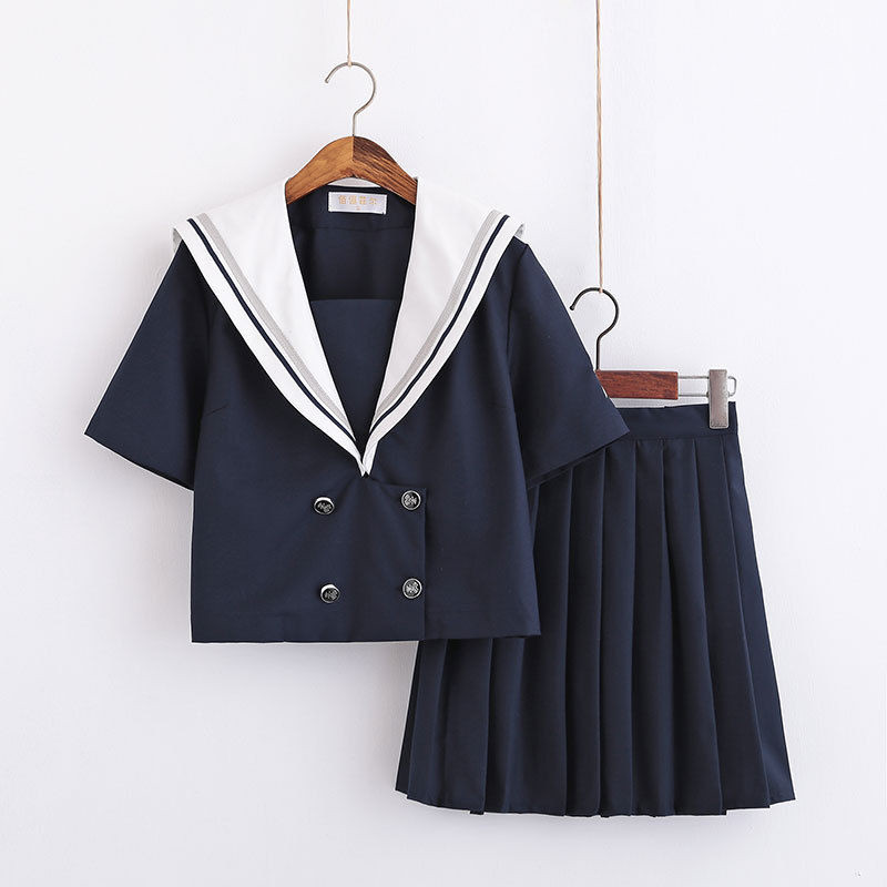 Whale Embroidery Japanese School Uniforms For Girls Short/Long Sleeve Top+Short/Long Skirt Sailor Style Students Clothes