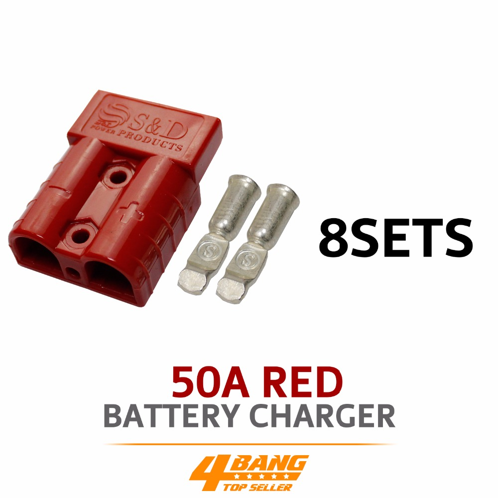 8pcs 50AMP 600V Red Battery Exterior Wire DC Power Solar Connector Caravan Kit image