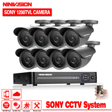 NINIVISION HD 1200TVL Camera video surveillance 8ch 1080N CCTV DVR HVR NVR system security camera system with hdmi 1080p no HDD