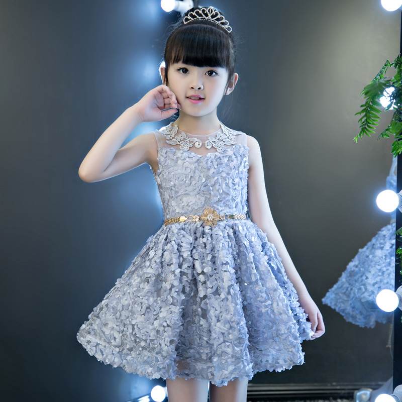 Floral Girl s Dress 2018 New Sleeveless Lovely Princess Girl Ball Gowns Embroidery Wedding Party Dresses